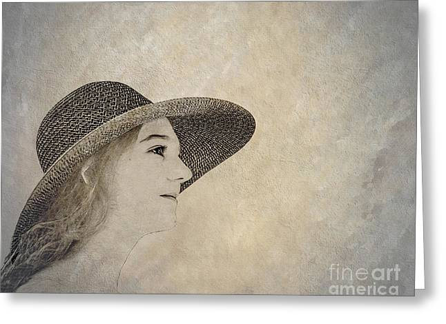 Young Woman In Hat Greeting Card