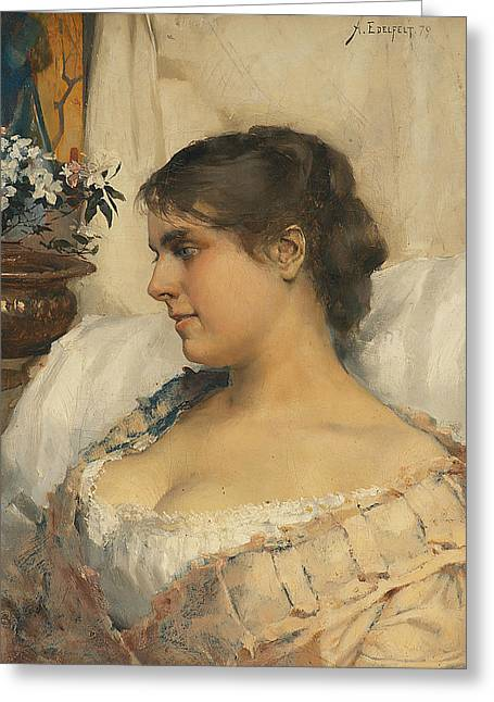 Young Woman In Her Boudoir Greeting Card by Albert Edelfelt