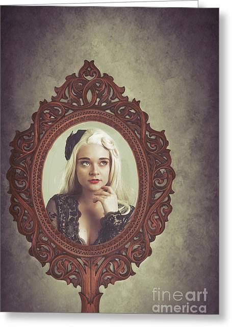 Young Woman In Mirror Greeting Card by Amanda Elwell