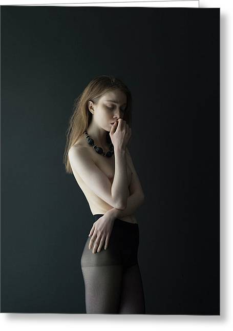 Young Woman In Pantyhose Greeting Card