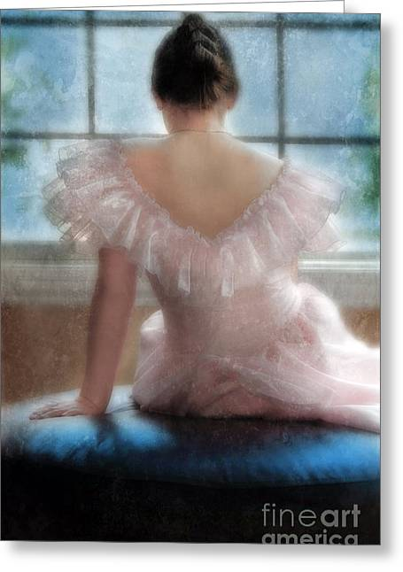 Young Woman In Pink Ruffled Dress Greeting Card