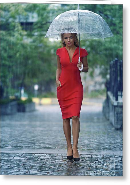 Young Woman In Red Elegant Dress With Umbrella Walking Thoughtfu Greeting Card
