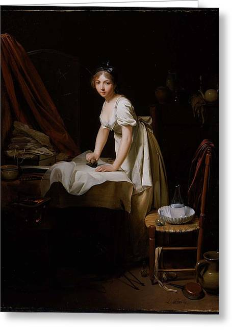 Young Woman Ironing Greeting Card
