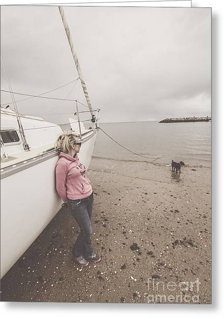 Young Woman Leaning Against A Luxury Yacht Greeting Card