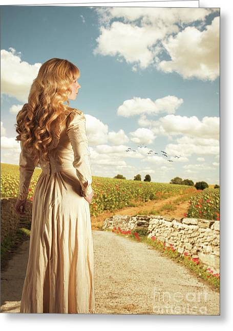 Young Woman On Bridge Greeting Card by Amanda Elwell