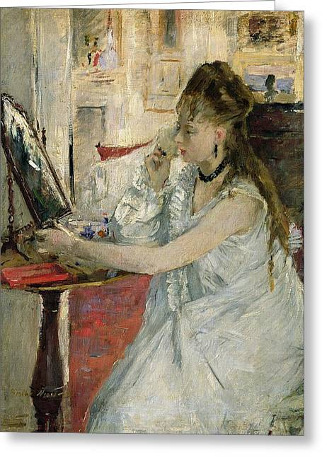 Berthe (1841-95) Greeting Cards - Young Woman Powdering her Face Greeting Card by Berthe Morisot