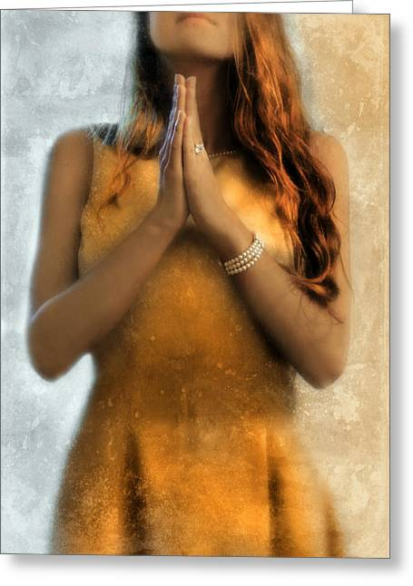 Forgiven Greeting Cards - Young Woman Praying Greeting Card by Jill Battaglia