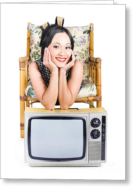 Young Woman Resting On Old Retro Tv Greeting Card