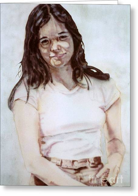 Young Woman Greeting Card by Ron Bissett
