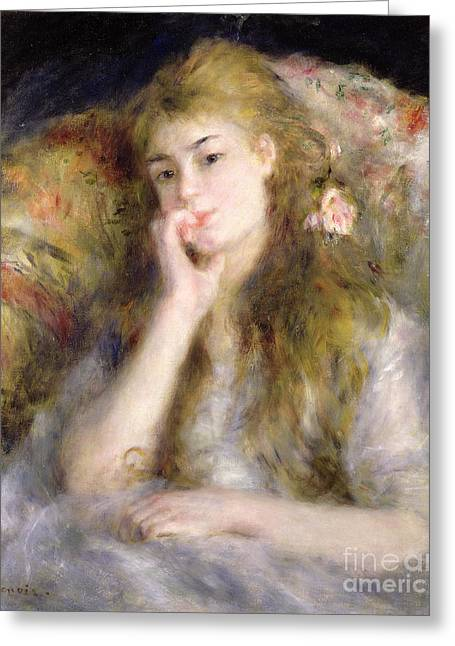Chairs Greeting Cards - Young Woman Seated Greeting Card by Pierre Auguste Renoir