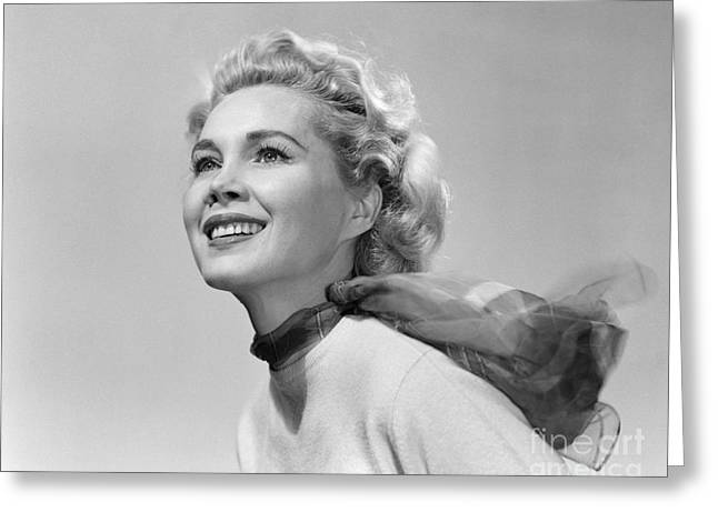 Young Woman Smiling In Wind, C.1950s Greeting Card by Debrocke/ClassicStock