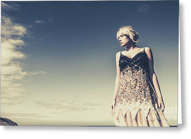 Young Woman Standing On The Beach Greeting Card