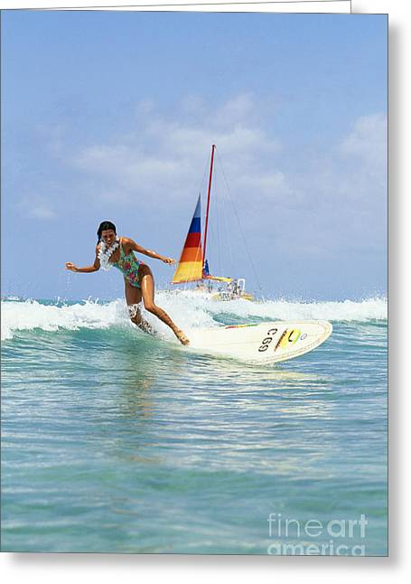 Young Woman Surfing Wave Greeting Card by Vince Cavataio - Printscapes