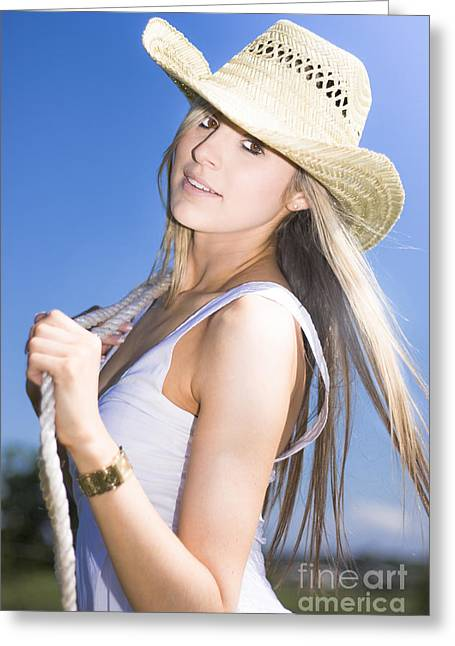 Young Woman With Cowboy Hat Greeting Card
