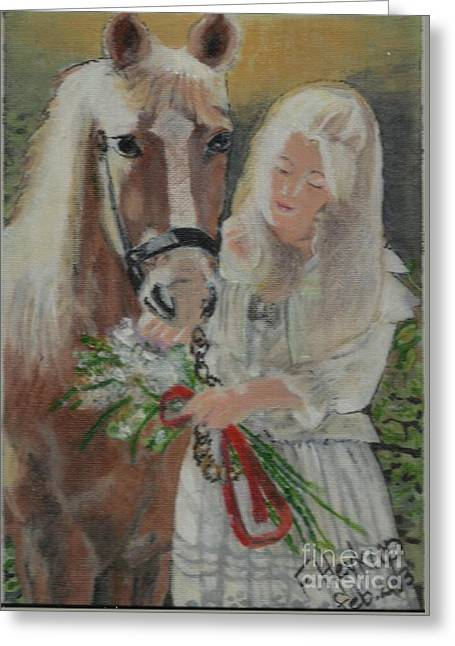 Young Woman With Horse Greeting Card