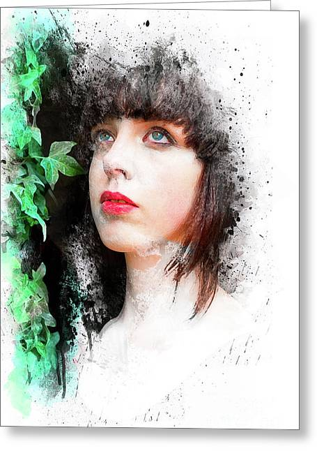 Young Woman With Ivy Greeting Card by Mark Fearon