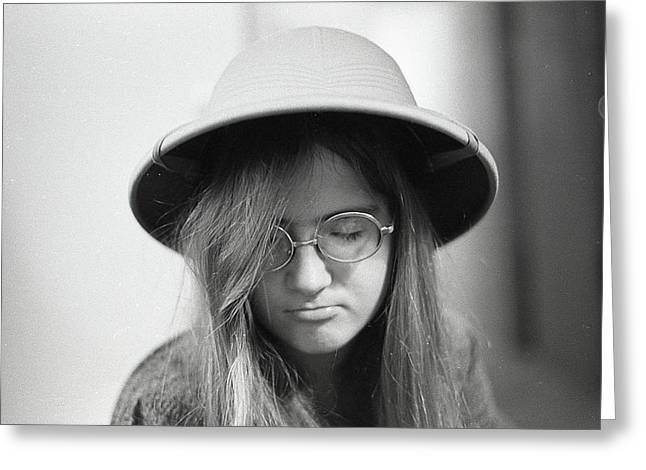 Young Woman With Long Hair, Wearing A Pith Helmet, 1972 Greeting Card