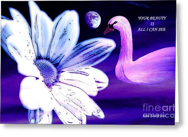 Your Beauty With Swan Moon And White Flower Greeting Card