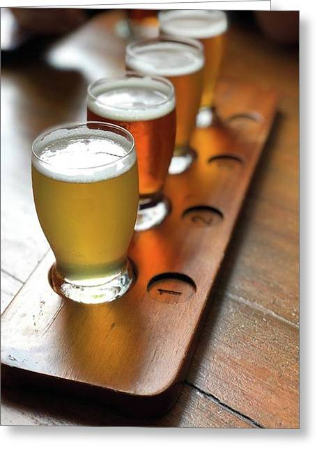 Your Choice Of Four Draft Beers From Greeting Card by Arya Swadharma