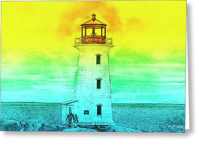 You're My Beacon Peggy's Cove Lighthouse Greeting Card by Betsy Knapp
