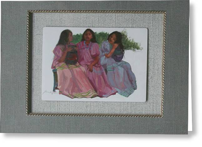 Youthful  Beauties Oil On Porcelain Greeting Card