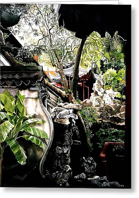 Yu Garden In Shanghai Greeting Card by Alfred Ng