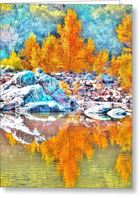 Yuba River Fall Reflection Greeting Card by William Havle