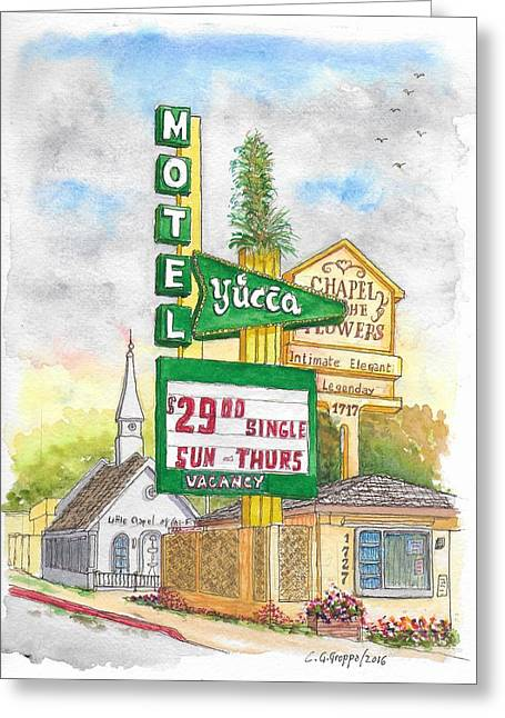 Yucca Motel And Little Chapel Of The Flowers, Las Vegas, Nevada Greeting Card by Carlos G Groppa