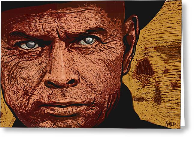 Greeting Card featuring the digital art Yul Brynner by Antonio Romero