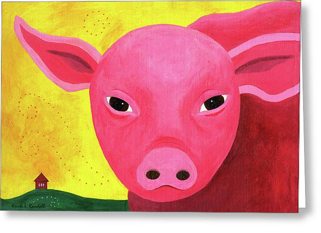 Yuling The Happy Pig Greeting Card by Kristi L Randall