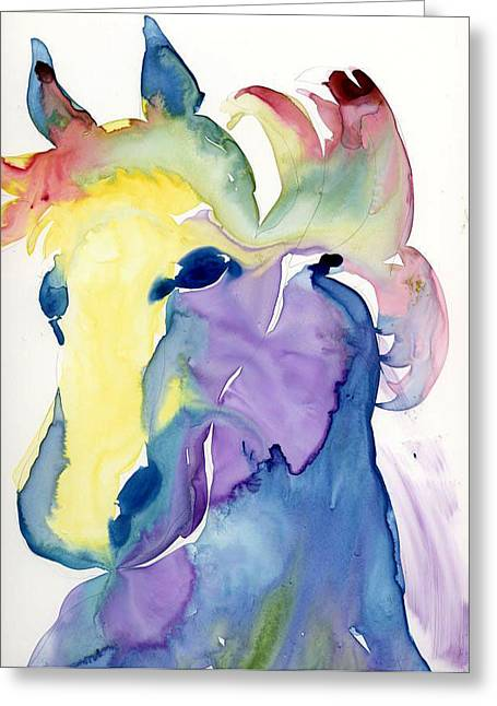 Yupo Horse Greeting Card by Janet Doggett