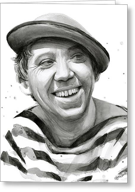 Yuriy Nikulin Portrait Greeting Card by Olga Shvartsur