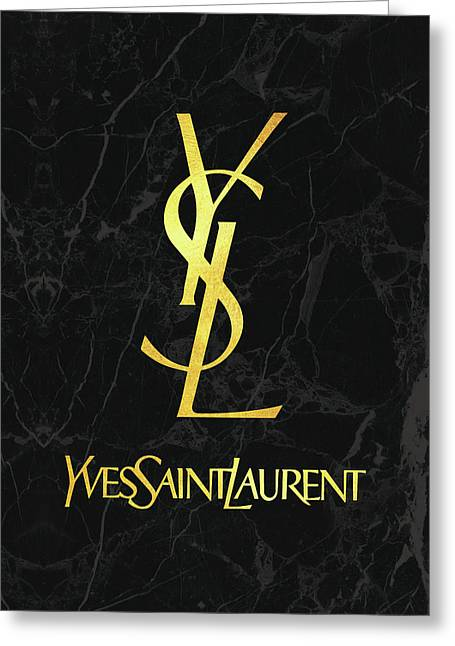 Yves Saint Laurent - Black And Gold Greeting Card by Alta Vita