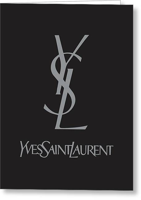 Yves Saint Laurent - Black And Grey Greeting Card by Alta Vita