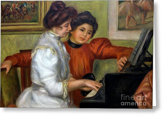 Yvonne And Christine Lerolle At The Piano, By Pierre-auguste Ren Greeting Card by Peter Barritt