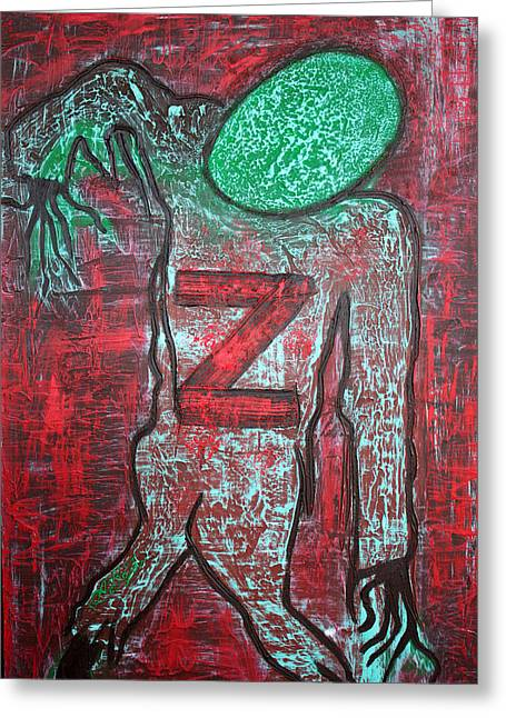 Z 4 Zombie Greeting Card by Laura Barbosa