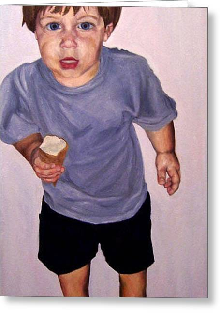 Zachary F With Ice Cream Greeting Card by Marianne Devine