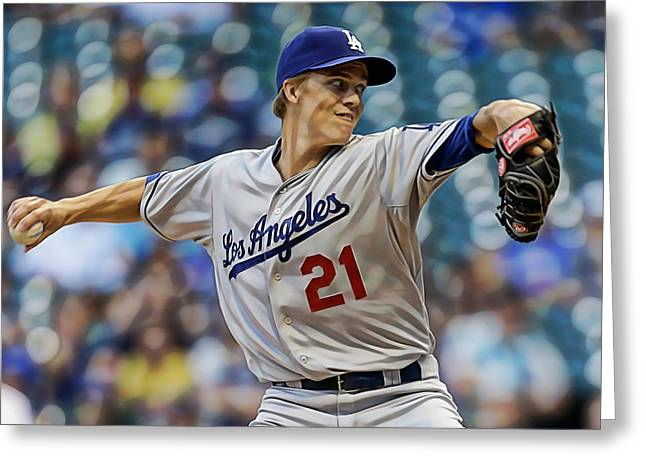 Zack Greinke Los Angeles Dodgers Greeting Card by Marvin Blaine