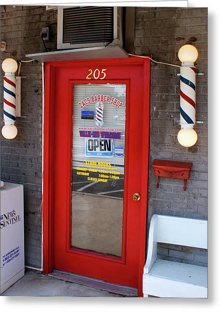 Zacs Barber Shop Greeting Card by Paul Mashburn