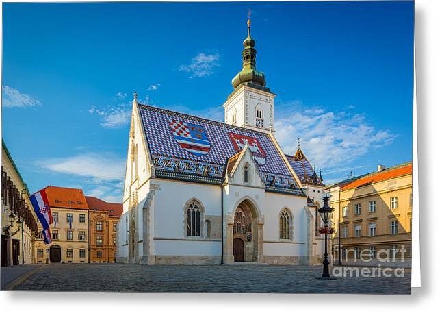 Zagreb St Mark's Church Greeting Card by Inge Johnsson