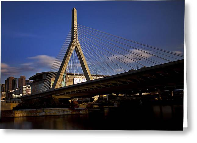 Boston Nights Greeting Cards - Zakim Bridge and Boston Garden at Sunset Greeting Card by Rick Berk