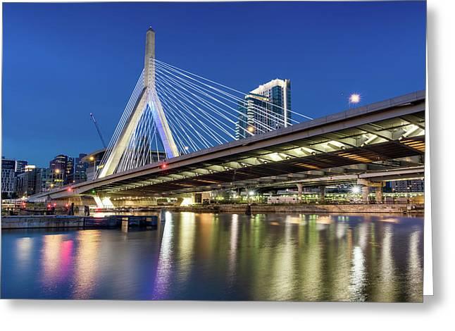 Zakim Bridge And Charles River Greeting Card