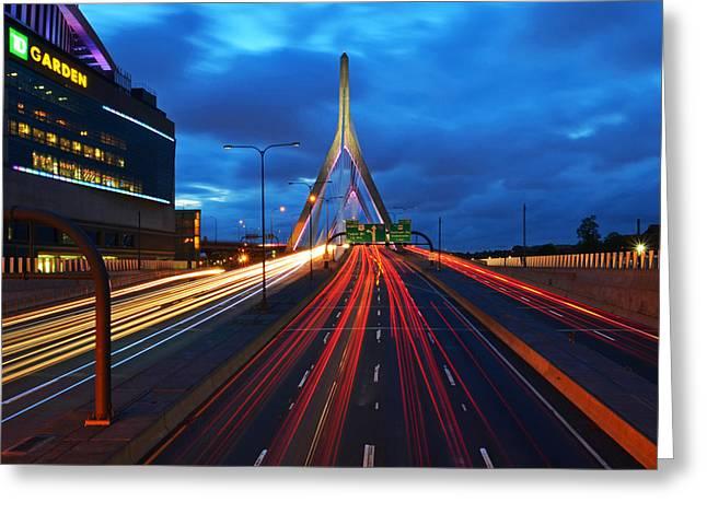 Zakim Bridge And Td Garden Boston Ma Greeting Card by Toby McGuire