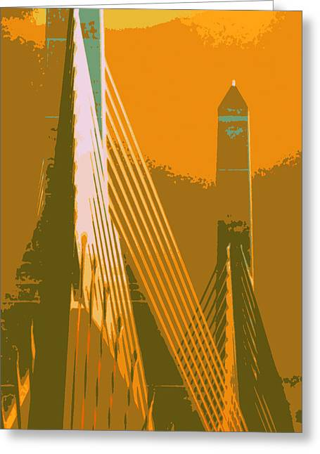 Zakim Bridge Boston V6 Greeting Card by Brandi Fitzgerald