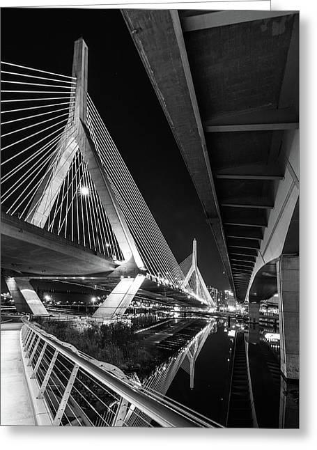 Zakim Bridge From Under The Leverett Connector Bridge Greeting Card