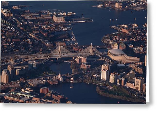 Zakim Bridge In Context Greeting Card by Rona Black