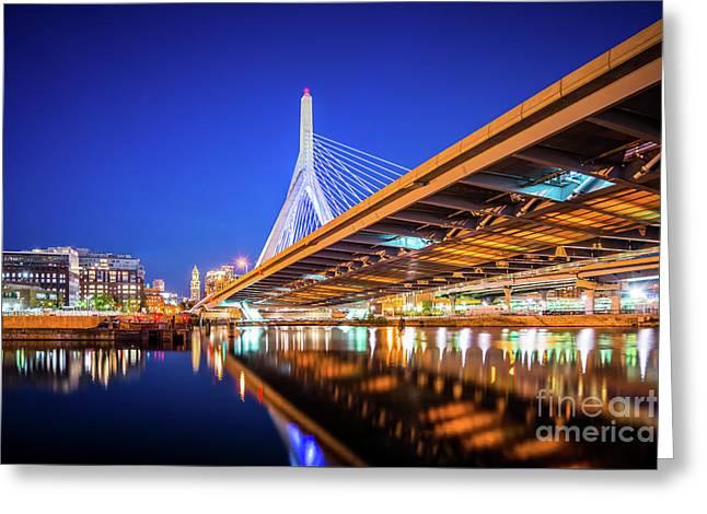 Zakim Bunker Hill Bridge At Night Photo Greeting Card by Paul Velgos
