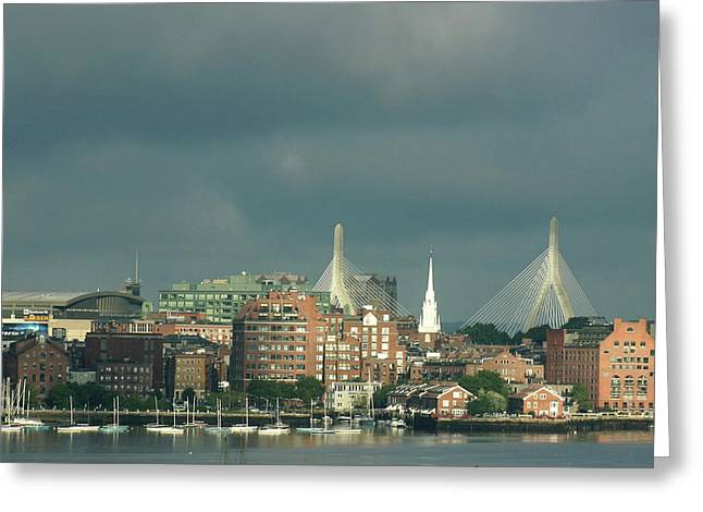 Zakim Bunker Hill Bridge Greeting Card by Carol Kinkead