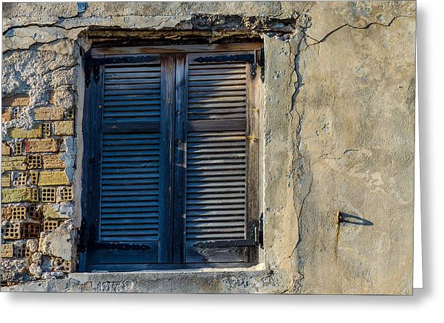 Zakynthos Town Window Greeting Card by Rainer Kersten