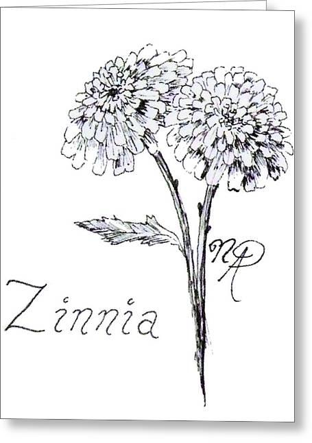 Zannie Zinnia Greeting Card